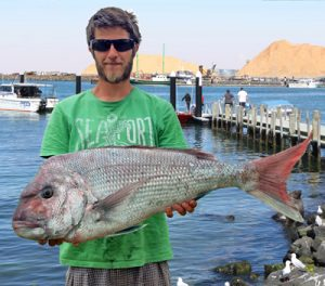 Lucas Faravoni with the 8 kg snapper he caught from the Lee Breakwater on Sunday (Picture: Bob McPherson).