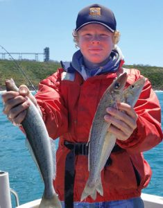 Hugh Johnstone with a sample of the whiting that he, Tony Busher, and Bob McPherson caught off Blacknose Point over the weekend. (Picture: Bob McPherson).