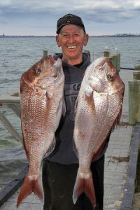 Murray Scott with a sample of his snapper catch from Corio Bay.