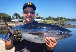 Greg Staynes with the bluefin tuna that he caught offshore from Point Lonsdale at Port Phillip Heads on Thursday.