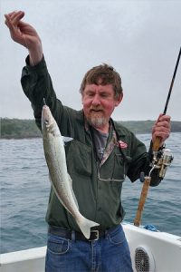 Lockie Wombell with yet another good size whiting off Blacknose Point at Portland (Picture: Bob McPherson).