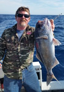 Lockie Wombell with a good size blue eye trevalla taken offshore from Portland (Picture: Bob McPherson).