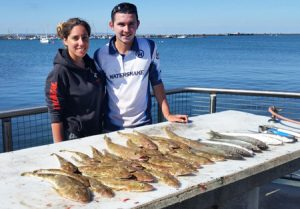 Judith and Jason Sillato with their mixed bag of flathead and whiting off Portland (Picture: Bob McPherson).