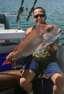 Murray Stewart with his snapper from Corio Bay (Picture: Linda Stewart).
