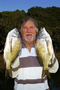 Martin de Lange with a sample of his bream catch from the Barwon estuary.
