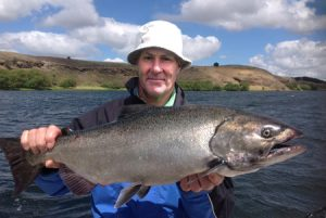Rob Rees with his 5.68 kg chinook salmon from Lake Purrumbete (Picture: Victorian Inland Charters).