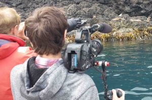 The travel Oz crew filming the seals at Lady Julia Percy Island.