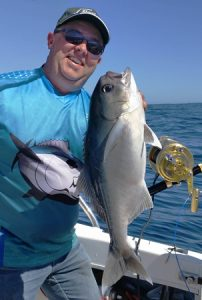 Michael Goldby with one of the blue eye trevalla that he, Bob McPherson, and Lockie Wombell, caught off Portland over the weekend (Picture Bob McPherson).