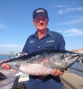 Trevor Muller of Webbcon Marine in Horsham with one of the tuna that he and Trevor Holmes caught on charter with Matthew Hunt off Portland last Tuesday (Victorian Inland Charters).