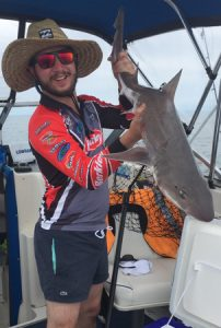 Nick Tsavaris with one of the two gummy sharks that he caught of St Leonards (Picture: Renae Ciuffetelli).