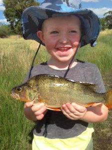 Three year old Murray Booth with the redfin he caught on a Celta lure while fishing with his father Ryan at Queens Park on the Barwon River on Saturday.