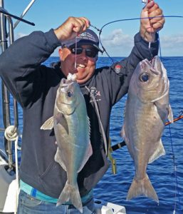 Michael Goldby with a sample of his and Bob McPherson's blue eye trevalla catch (Picture: Bob McPherson).