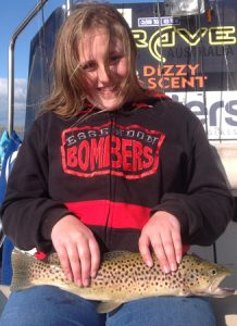 11 year old Dana Worthy with her first brown trout (Picture: Victorian Inland Charters).
