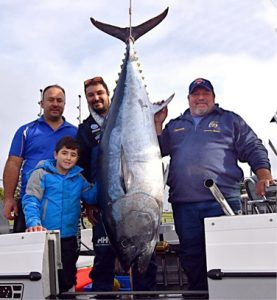 Jamie Peel, Jayden Peel, Chris Zammit and Darren Zammit with their 100 kg tuna from Portland on Saturday (Picture: Bob McPherson).
