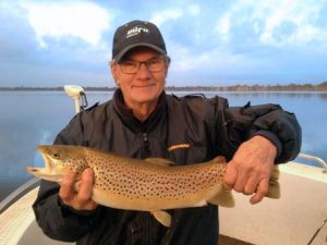 Trevor Muller with his brown trout from Lake Toolondo (Picture: Victorian Inland Charters).