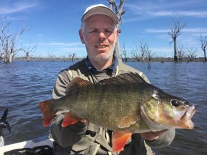 Viktor Petrovic with one of his redfin from Lake Toolondo (Picture: Victorian Inland Charters).