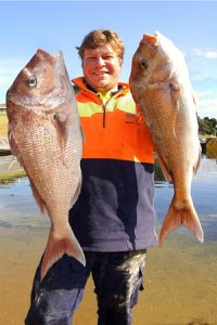 Two of three: Stevie Lee with a sample from his snapper catch from Corio Bay's outer harbour on Sunday