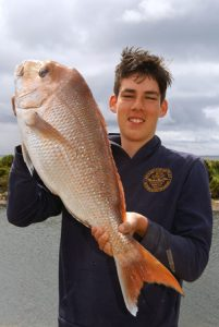 Matthew Kirby whose 6.3 kg snapper won second prize in the Leopold Angling and Aquatic Club's snapper competition at the weekend.