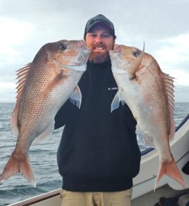 Aaron Habgood with yet another good catch of snapper off Clifton Springs (Picture: Aaron Habgood).