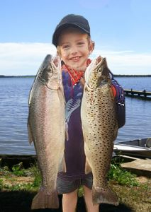 Mason Cole 3, with the fruits of his introduction to fishing (Picture: Jake Habib).