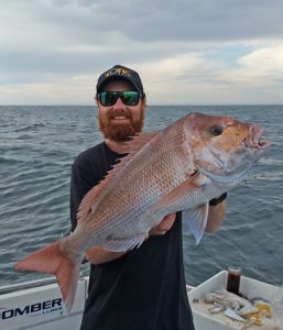 Aaron Habgood with the 7.5 kg snapper he caught off Clifton Springs last week (Picture: Aaron Habgood).