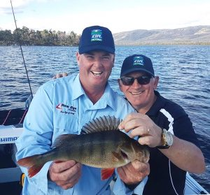 Jason (Stop the Bus!) Kennedy and Caravan Industry Association CEO Rob Lucas with a nice redfin from Lake Toolondo (Picture: Victorian Inland Charters).